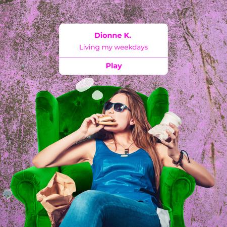 Modèle de visuel Funny Woman eating Fast Food - Album Cover