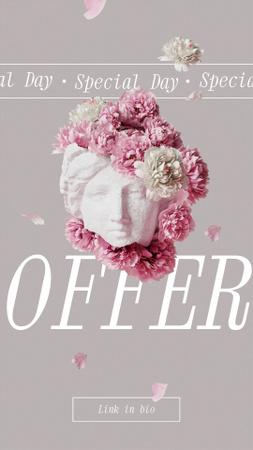 Plantilla de diseño de Flowers Offer with Floral Antique Statue Instagram Story