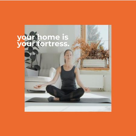 Template di design Woman meditating at Home Animated Post