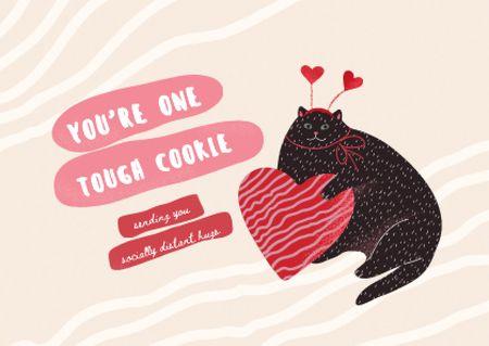 Plantilla de diseño de Cute Wish with Funny Cat holding Big Heart Card
