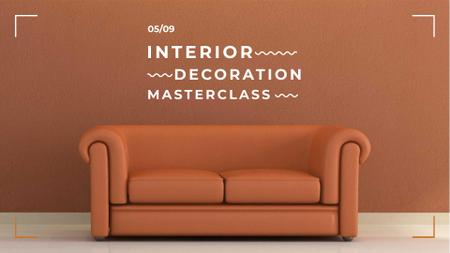 Template di design Interior decoration masterclass with Sofa in red FB event cover