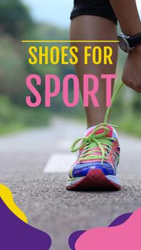 Shoes Sale Offer with Runner tying shoelaces