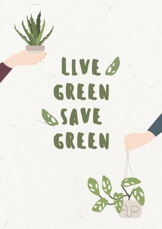 Modèle de visuel Green Lifestyle Concept with People holding Flowerpots - Poster