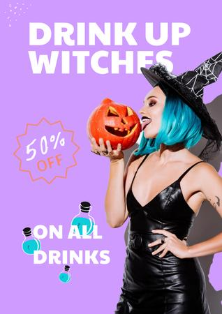 Halloween Party Announcement with Woman in Witch Costume Poster – шаблон для дизайну