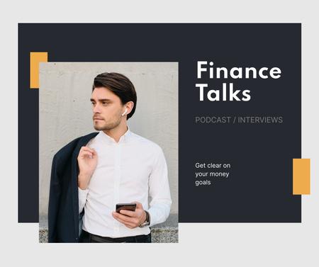 Designvorlage Young Businessman for Finance Podcast für Facebook