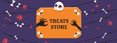 Treats Store on Halloween Offer Facebook cover Modelo de Design