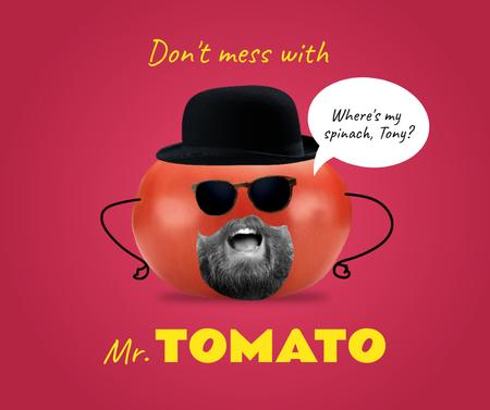 Modèle de visuel Funny Tomato Character with Human Mouth - Facebook