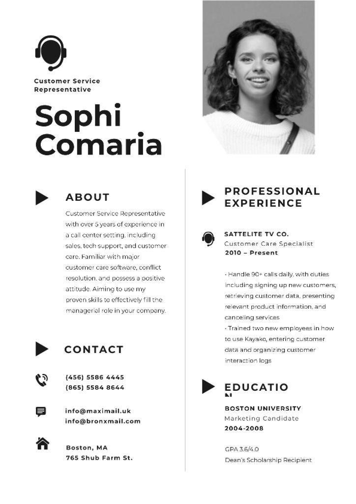 Professional Customers Service worker Profile Resume Modelo de Design