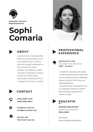 Plantilla de diseño de Professional Customers Service worker Profile Resume