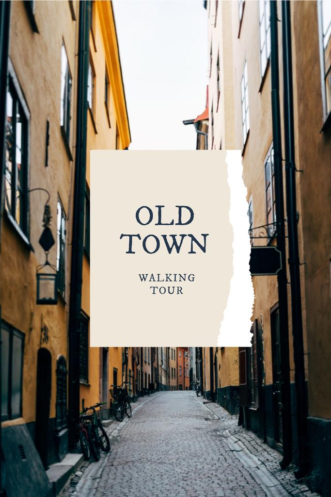 Walking Tour Offer with Benches in autumn Park Pinterest – шаблон для дизайну