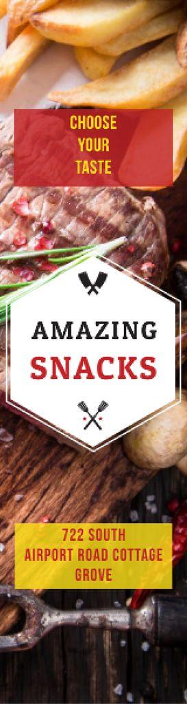 Ontwerpsjabloon van Skyscraper van Snacks Offer with Grilled Meat