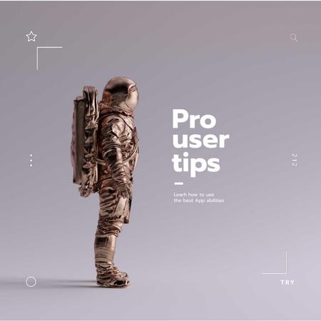 Mobile App Ad with Futuristic Astronaut Animated Post Modelo de Design