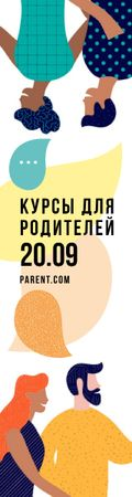 Parent Summit Invitation People with Message Bubbles Skyscraper – шаблон для дизайна
