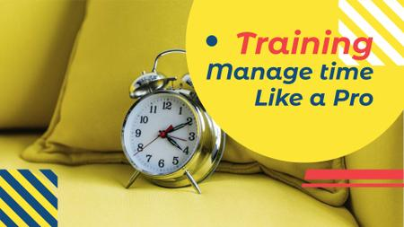 Alarm Clock in Yellow for Courses promotion FB event cover – шаблон для дизайна