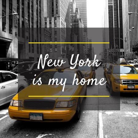 New York with Cabs Instagramデザインテンプレート
