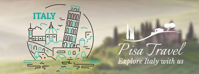Designvorlage Pisa famous travelling spots für Facebook Video cover