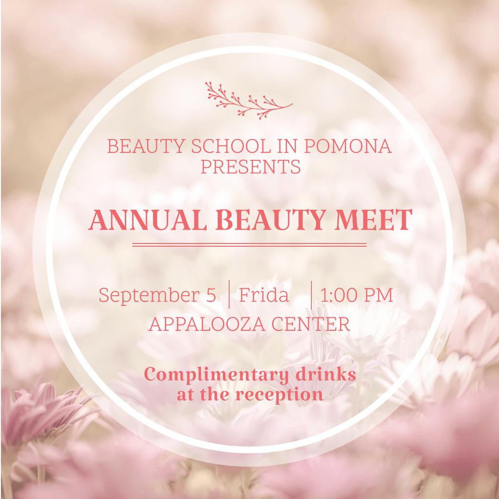 Beauty event announcement in pink frame — Crear un diseño