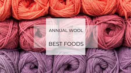 Knitting Festival Invitation with Wool Yarn Skeins Youtubeデザインテンプレート