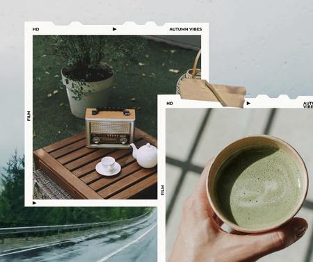 Autumn Inspiration with Tea and Retro Tape Recorder Facebook Design Template