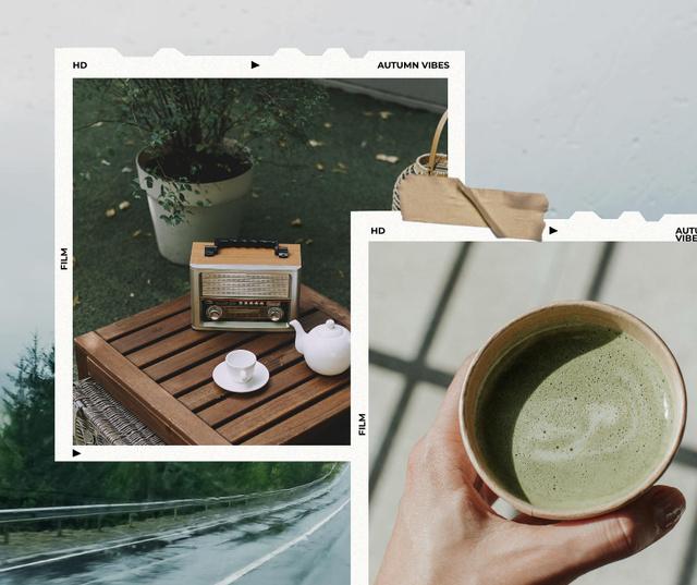 Ontwerpsjabloon van Facebook van Autumn Inspiration with Tea and Retro Tape Recorder