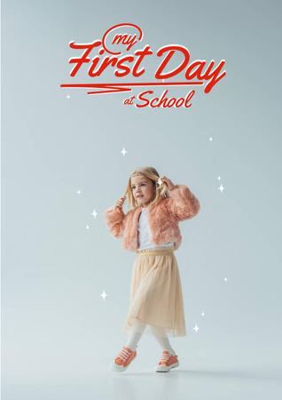 Modèle de visuel Back to School with Cute Little Girl - Poster