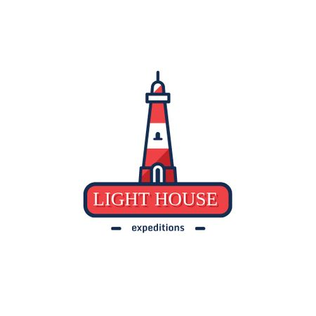 Designvorlage Travel Expeditions Offer with Lighthouse in Red für Logo
