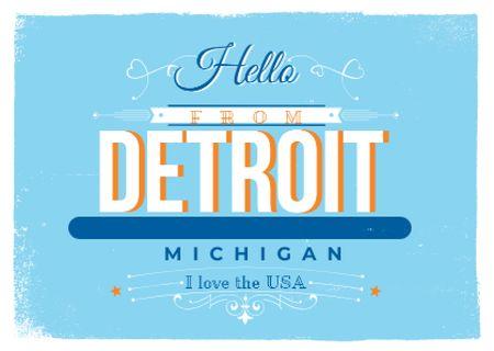 Plantilla de diseño de Detroit Michigan Inscription Card