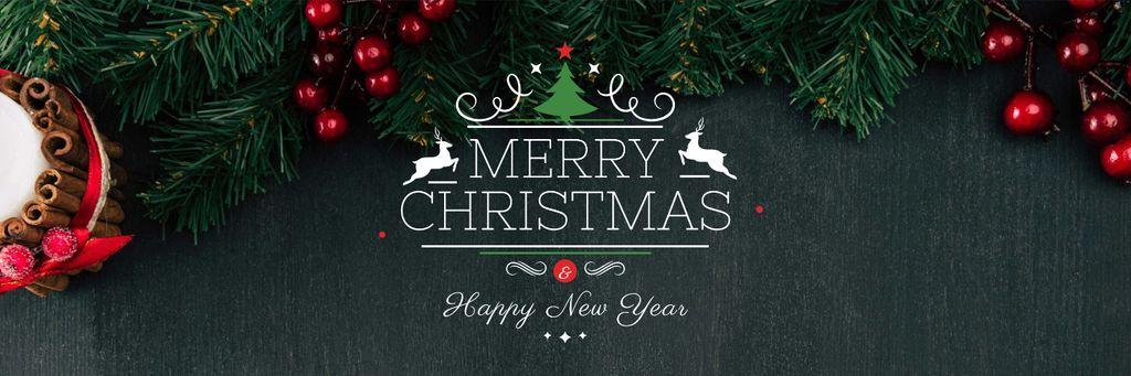 Christmas Greeting Fir Tree Branches — Modelo de projeto
