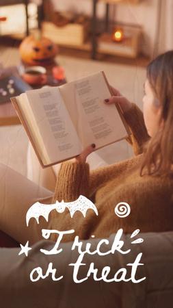 Designvorlage Halloween Inspiration with Girl reading Book für Instagram Video Story