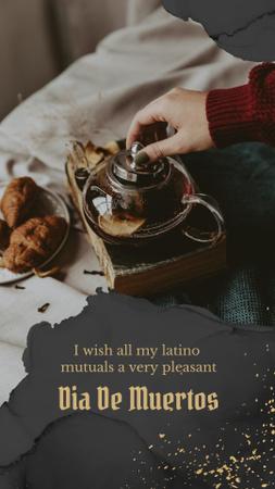 Platilla de diseño Dia de los Muertos Inspiration with Teapot and Cookies Instagram Story
