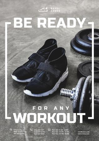 Shoes Store Promotion with Sneakers in Gym Poster Modelo de Design