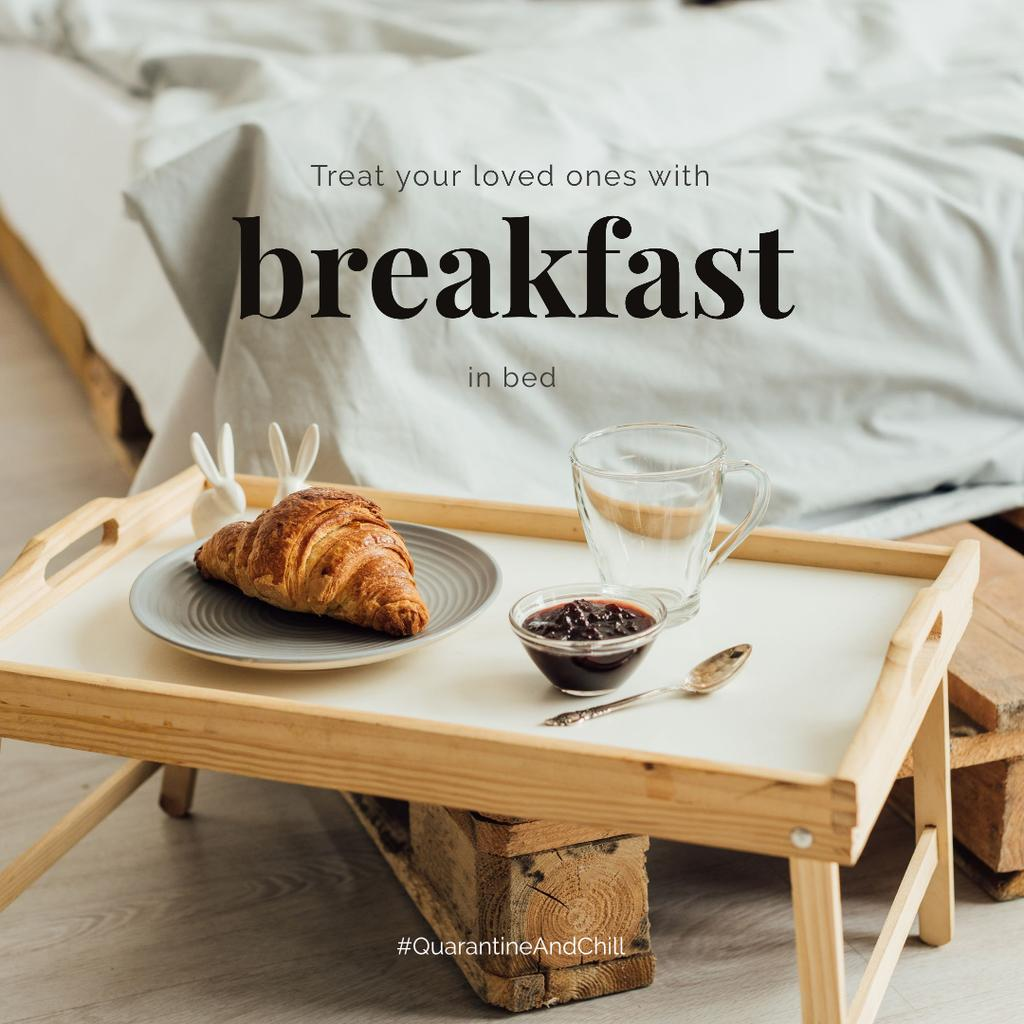#QuarantineAndChill Sweet breakfast on wooden tray - Bir Tasarım Oluşturun