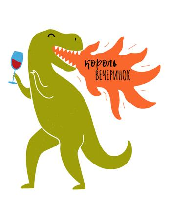 Funny Dinosaur with Glass of Wine breathing Fire T-Shirt – шаблон для дизайна