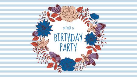 Birthday Party Announcement in Flowers Wreath FB event cover – шаблон для дизайну