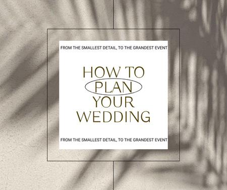 Wedding Planning Ad with Plant Shadow Facebook Modelo de Design