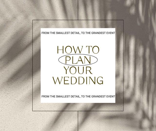 Designvorlage Wedding Planning Ad with Plant Shadow für Facebook