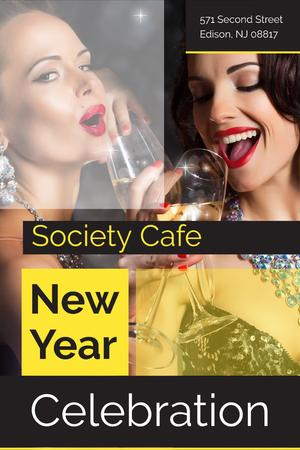 New Year celebration with Beautiful Women Pinterest Tasarım Şablonu