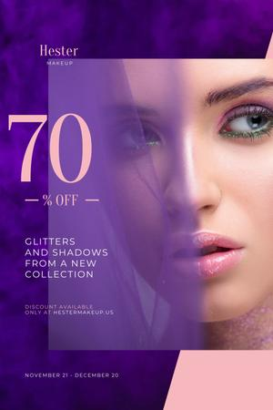 Template di design Cosmetics Sale Ad with Woman with Bold Makeup Pinterest