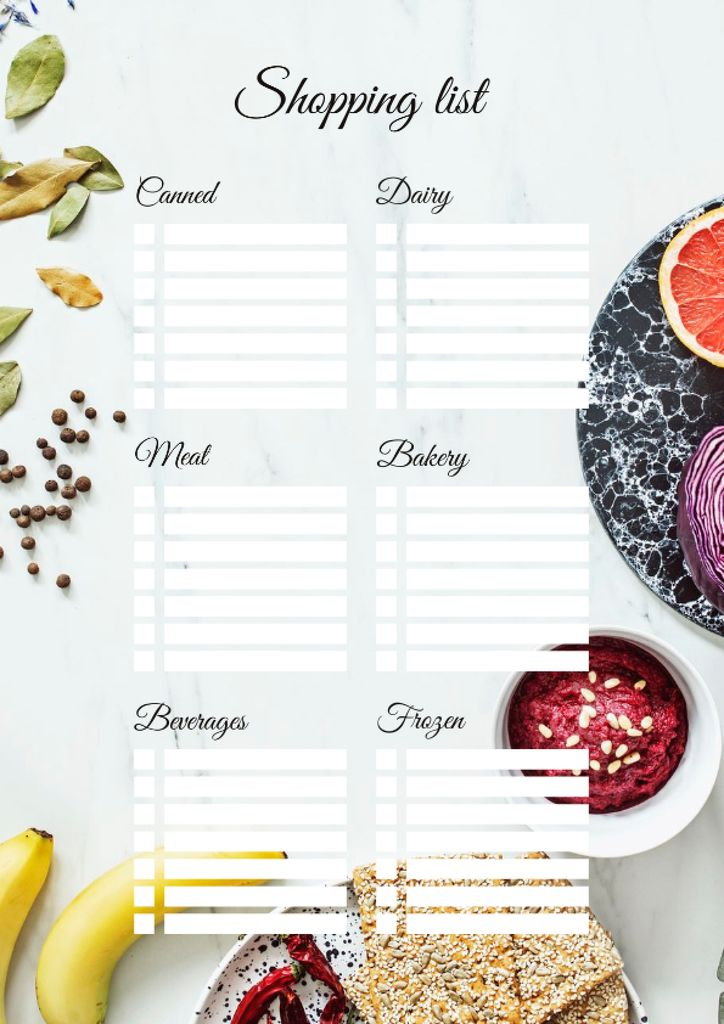 Shopping List with Dishes and Fruits on Table — Crear un diseño
