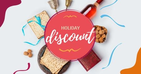 Template di design Passover Holiday Discount with Traditional Snacks Facebook AD