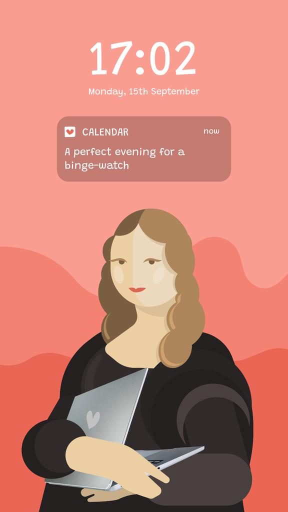 Plantilla de diseño de Funny Caricature of Mona Lisa holding Laptop Instagram Story