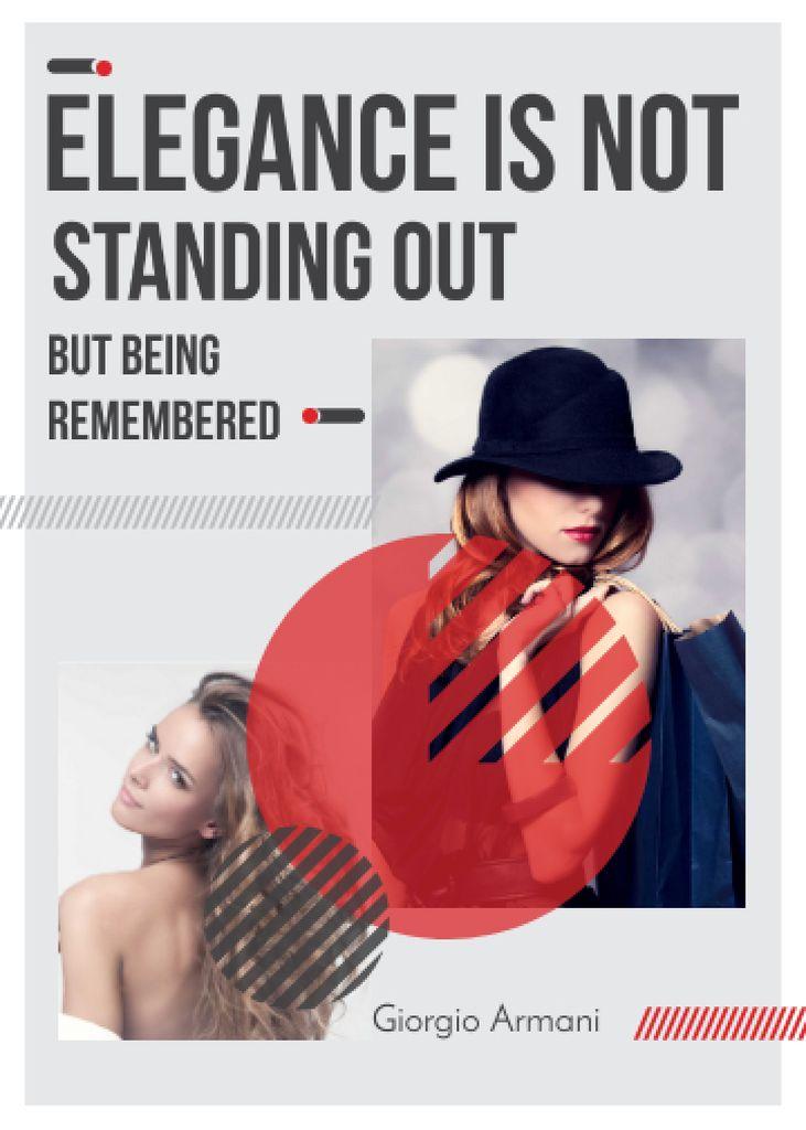 Shopping Quote Stylish Woman in Hat – Stwórz projekt