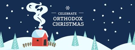 Plantilla de diseño de Orthodox Christmas Greeting with Snowy House Facebook cover