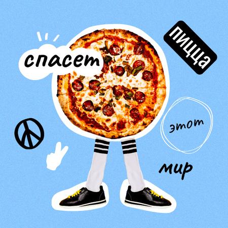 Funny Illustration of Pizza with Legs Instagram – шаблон для дизайна