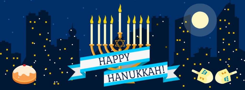 Hanukkah Greeting with Menorah and Night City Facebook cover – шаблон для дизайна