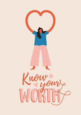Plantilla de diseño de Mental Health Inspiration with Woman showing Heart Poster