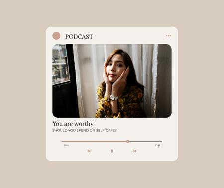Ontwerpsjabloon van Facebook van Podcast about Mental Health Ad with Young Girl