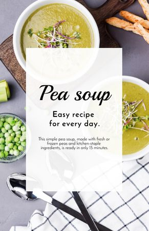 Template di design Pea Soup in Bowls with Ingredients on Table Recipe Card
