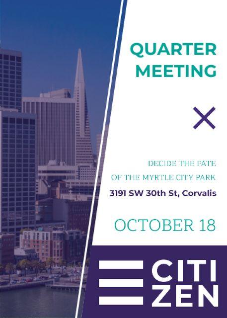 Szablon projektu Quarter Meeting Announcement City View Invitation