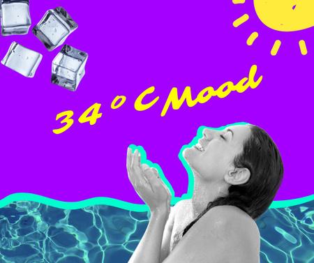 Woman catching Ice on Summer Heat Facebook Design Template